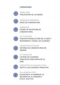 Cronograma del proceso de admisión de nuevas ciudades en la Red de Juderías de España