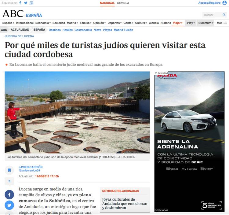 Reportaje sobre la judería de Lucena en ABC | Red de Juderías de España - Caminos de Sefarad
