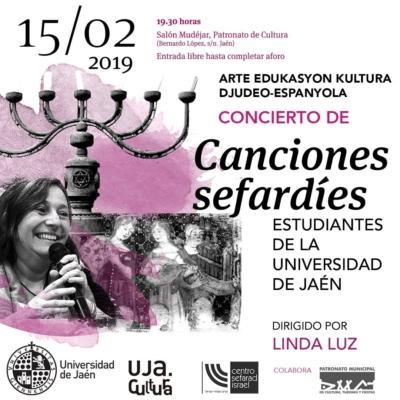 El próximo 15 de febrero, tendrá lugar en Jaén un concierto de canciones sefardíes, animado por Linda Luz, con la participación de estudiantes de la Universidad.