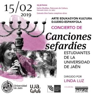 El próximo 15 de febrero, tendrá lugar en Jaén un concierto de canciones sefardíes, animado por Linda Luz, con la participación de estudiantes de la Universidad | Red de Juderías de España