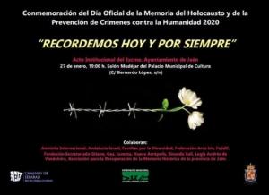 El día 27 de enero a las 19h se celebrará en el Salón Mudéjar del Palacio Municipal de Cultura (calle Bernardo López, s/n), el Acto Institucional de Conmemoración del Día Oficial de la Memoria del Holocausto y de la Prevención de Crímenes contra la Humanidad.