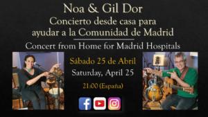La célebre cantante israelí Noa celebrará una actuación musical el sábado 25 de abril, a partir de las 21:00, en apoyo de la Comunidad de Madrid.
