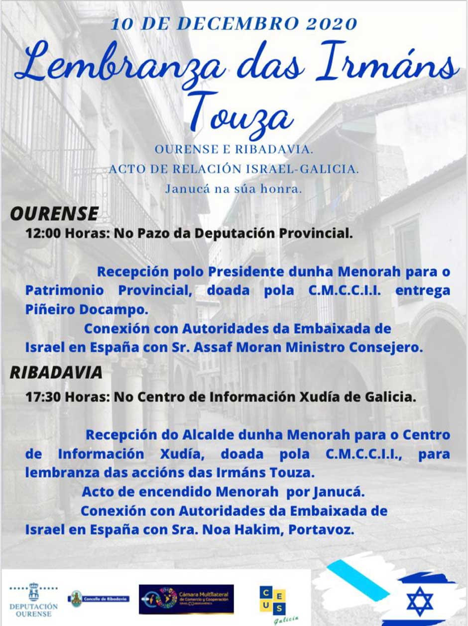 El próximo 10 de diciembre, Ribadavia dedica su celebración de Janucá a las Hermanas Touzá.