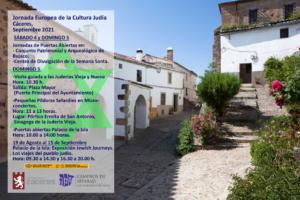 Cáceres, ciudad de la Red de Juderías de España, celebra la Jornada Europea de la Cultura Judía 2021 con diferentes actividades.