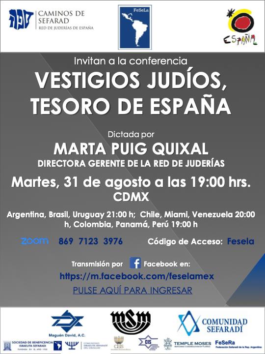 """La Red de Juderías de España fue invitada por la Federación Sefardí Latinoamericana a impartir el webinar """"Vestigios judíos. Tesoros de España"""""""